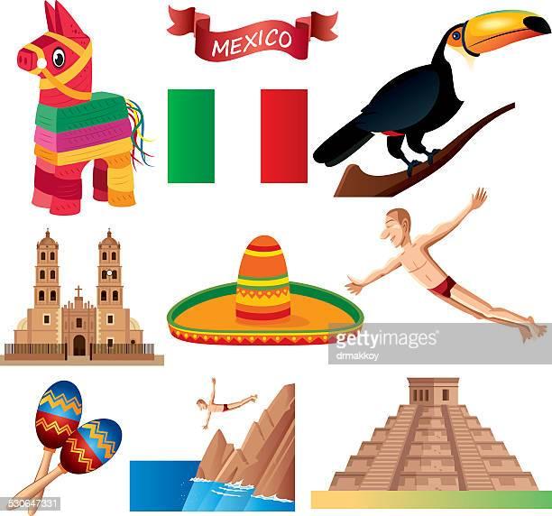 ilustrações, clipart, desenhos animados e ícones de mexican símbolos - pinata