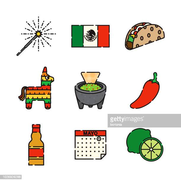 mexican thin line icon set - pinata stock illustrations