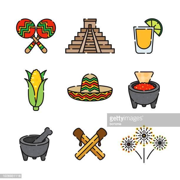 ilustrações, clipart, desenhos animados e ícones de conjunto de ícones de linha fina mexicana - sombreiro