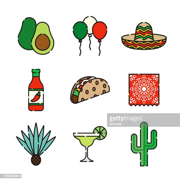 mexican thin line icon set - sombrero stock illustrations
