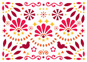 Mexican traditional folk art vector geometric pattern with flowers and birds, orange and red greeting card or invitaion design inspired by traditional art from Mexico