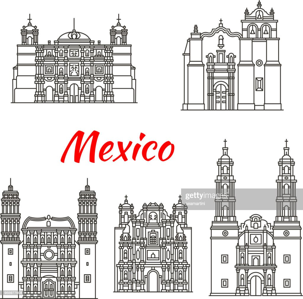 Mexican travel landmark icon with catholic church