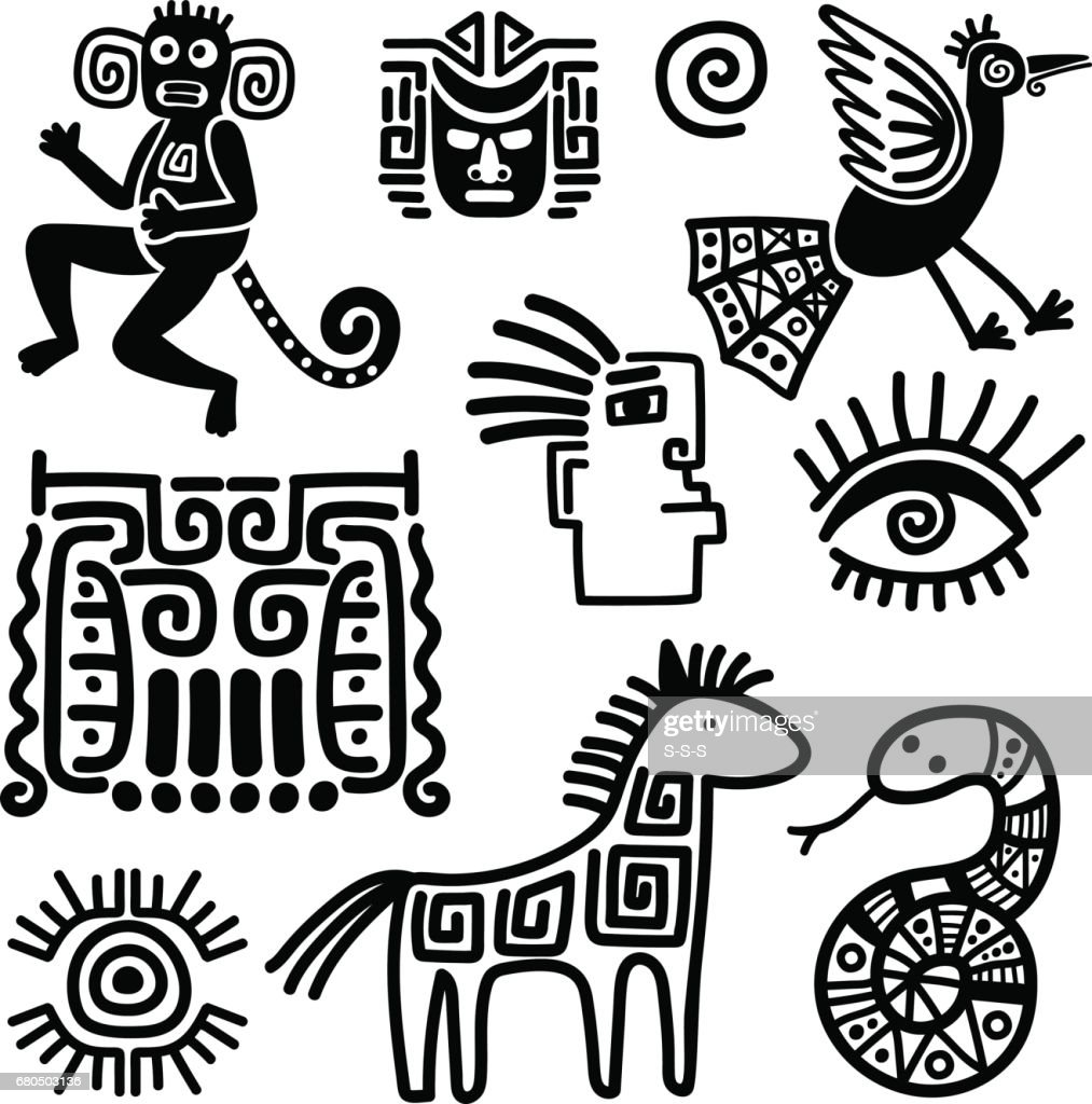 Mexican tribal black line symbols