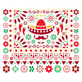 Mexican vector floral design with sombrero, chili peppers and flowers, happy ornament - greeting card on invitation pattern