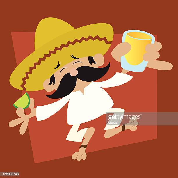 mexican with shot of tequila cartoon - shot glass stock illustrations, clip art, cartoons, & icons