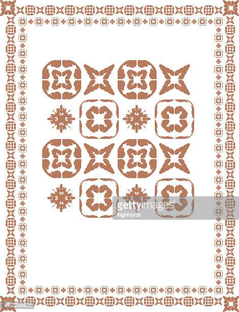 mexican-mesoamerican-esque border and tiles - spanish culture stock illustrations