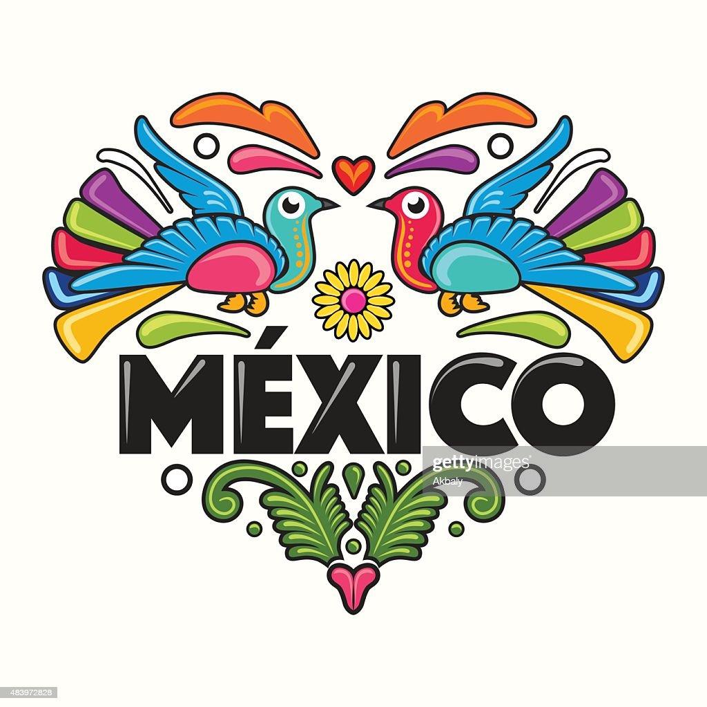 Mexico Amate Heart Print