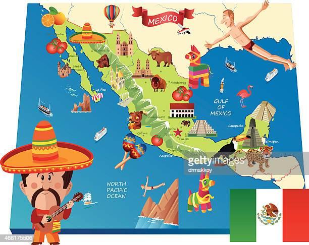 mexico cartoon map - mexico stock illustrations