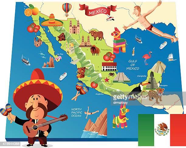 mexico cartoon map - pinata stock illustrations
