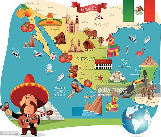 ilustrações, clipart, desenhos animados e ícones de desenho mapa do méxico - pinata