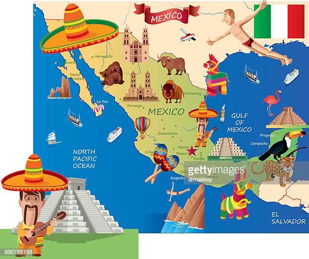 mexico cartoon map - central america stock illustrations, clip art, cartoons, & icons