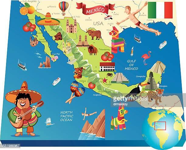 mexico cartoon map - sombrero stock illustrations