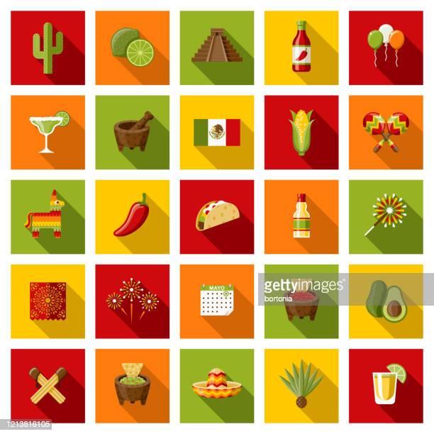 ilustraciones, imágenes clip art, dibujos animados e iconos de stock de mexico cinco de mayo icon set - calendario maya