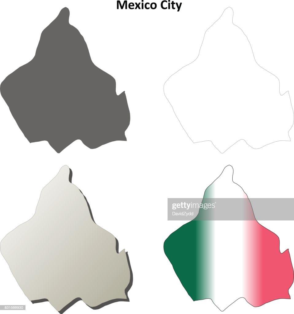 Mexiko Karte Umriss.Mexikostadt Leer Umriss Karte Gesetzt Stock Illustration