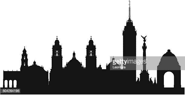 mexico city skyline (complete, detailed, moveable buildings) - independence monument mexico city stock illustrations