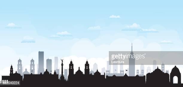 mexico city skyline - mexico city skyline stock illustrations