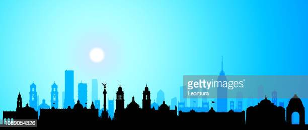 mexico city (all buildings are complete and moveable) - mexico city skyline stock illustrations