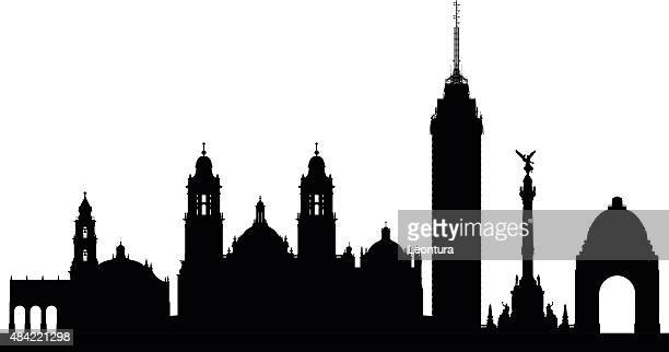mexico city (complete, moveable buildings) - mexico black and white stock illustrations