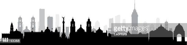 mexico city (all buildings are complete and moveable) - panoramic stock illustrations, clip art, cartoons, & icons