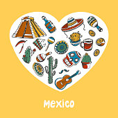 Mexico Colored Doodles Vector Collection
