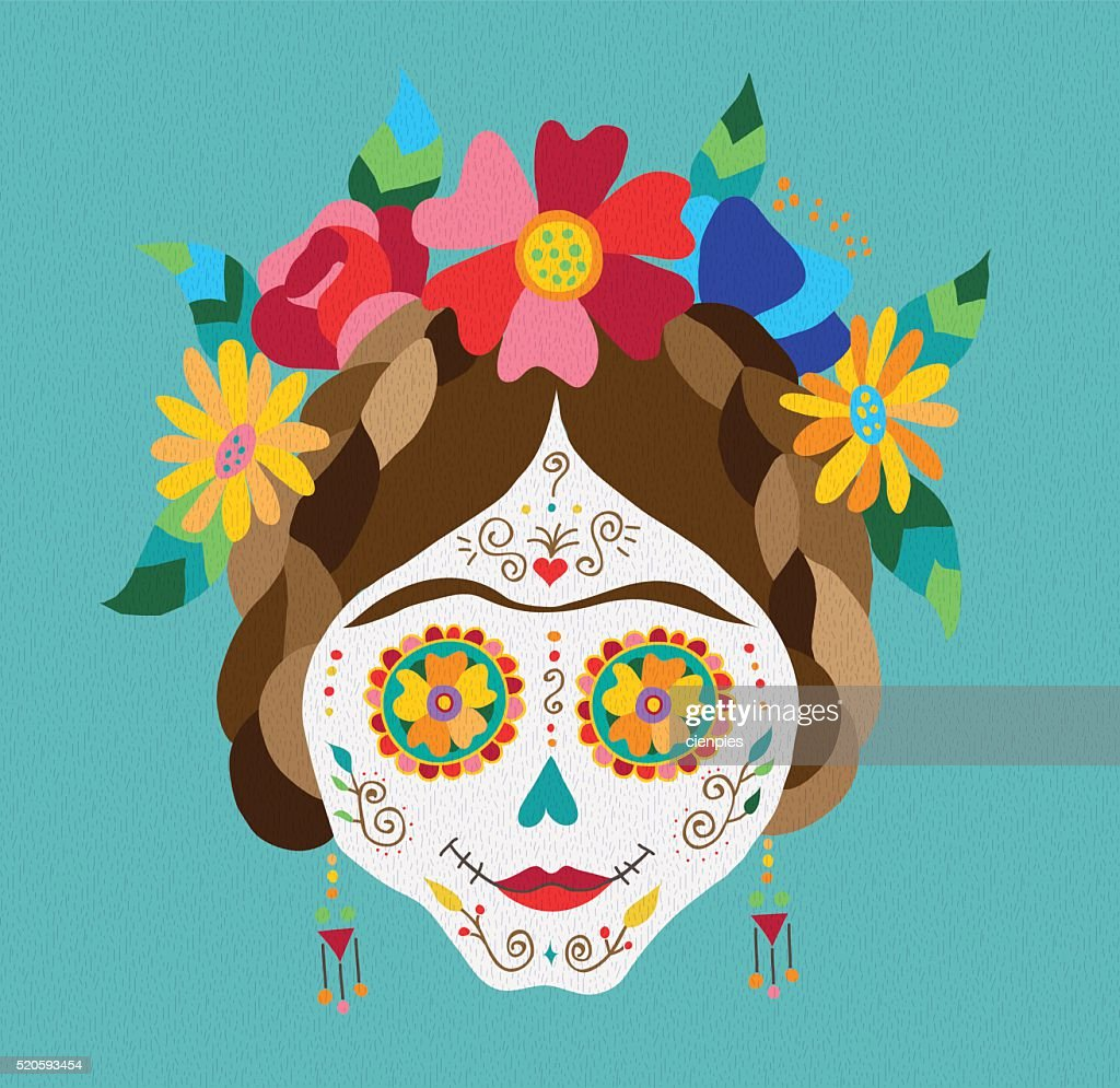 Mexico day of the dead skull and spring decoration