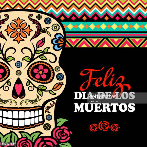 mexico day of the dead - tapestry stock illustrations