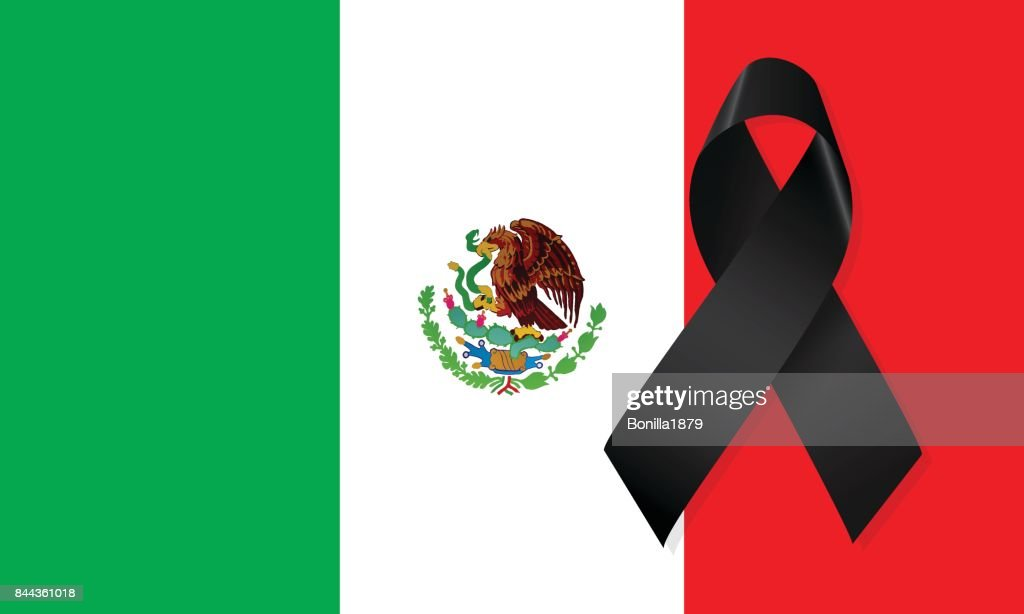 Mexico flag with black ribbon vector