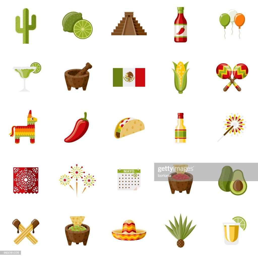 Conjunto de ícones de Design plano de México : Ilustração