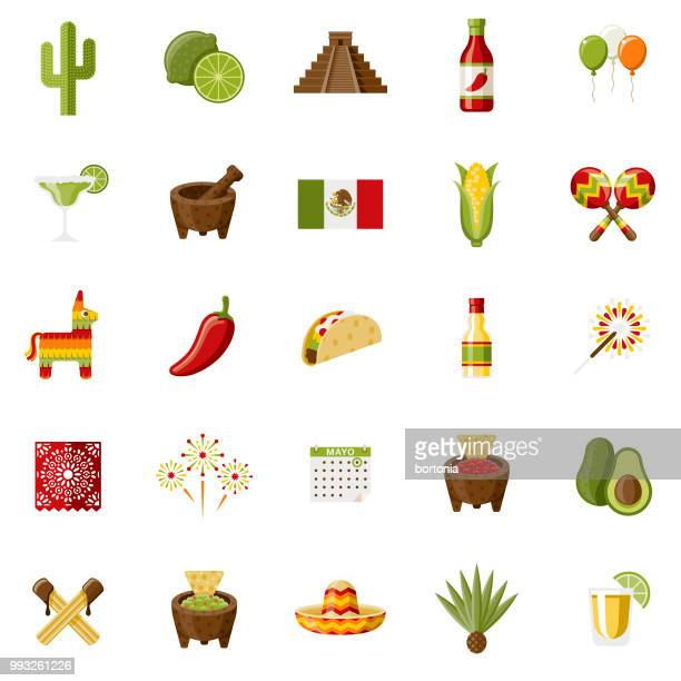 mexico flat design icon set - mortar and pestle stock illustrations, clip art, cartoons, & icons