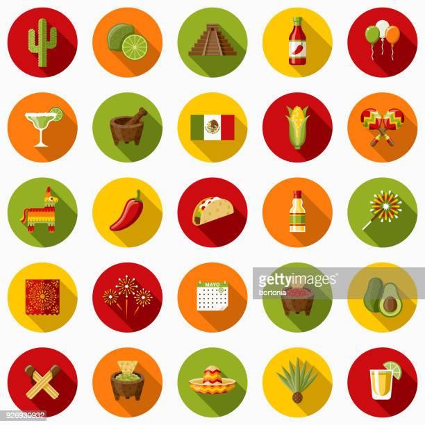 ilustraciones, imágenes clip art, dibujos animados e iconos de stock de conjunto de iconos de diseño plano de méxico con sombra lateral - calendario maya