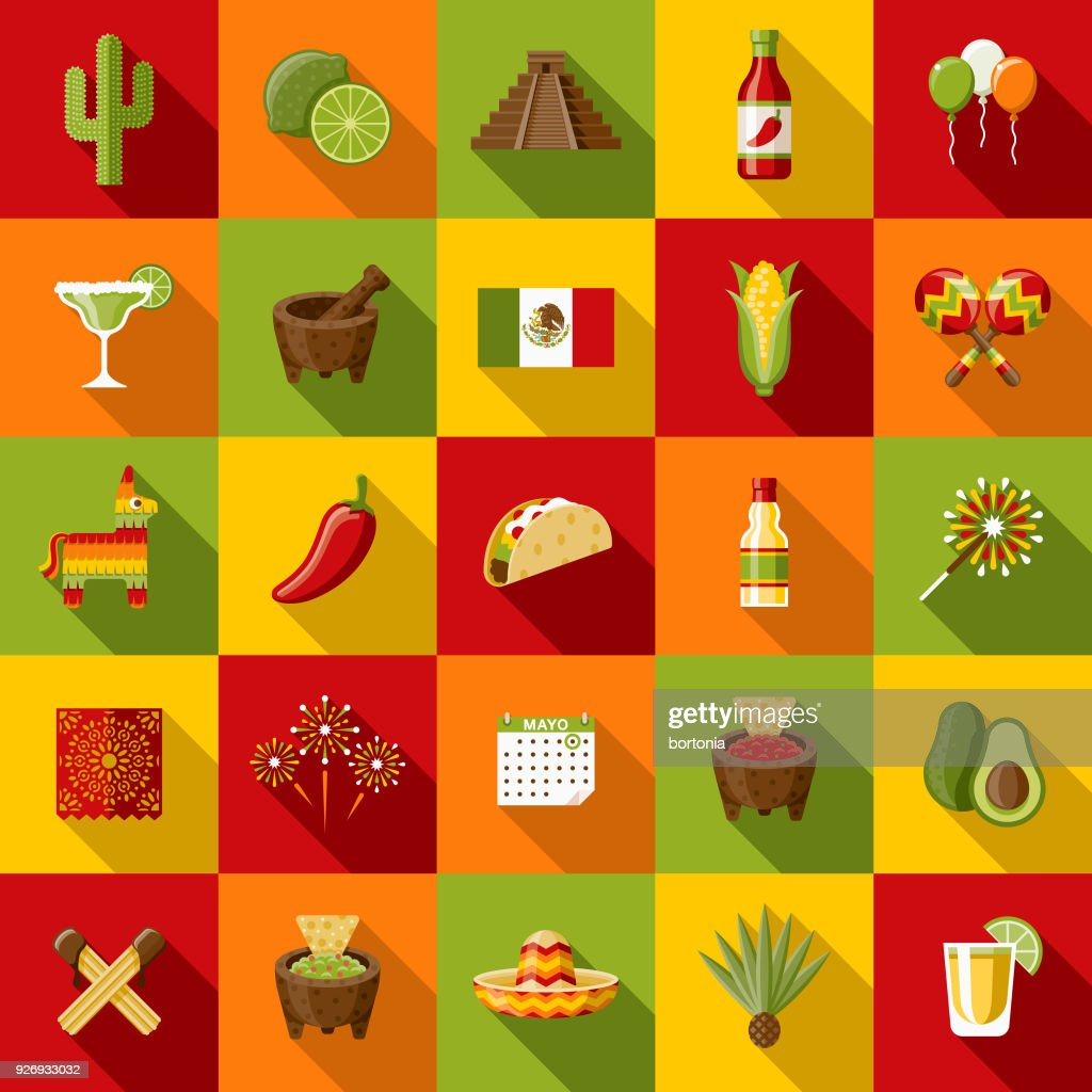 Mexico Flat Design Icon Set with Side Shadow : Stock Illustration