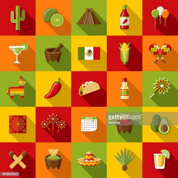 mexico flat design icon set with side shadow - sombrero stock illustrations