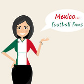 Mexico football fans.Cheerful soccer fans, sports images.Young woman,Pretty girl sign.Happy fans are cheering for their team.Vector illustration