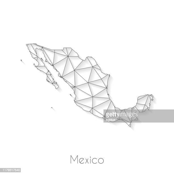 mexico map connection - network mesh on white background - mexico black and white stock illustrations