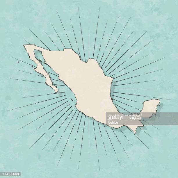 mexico map in retro vintage style - old textured paper - mexico stock illustrations