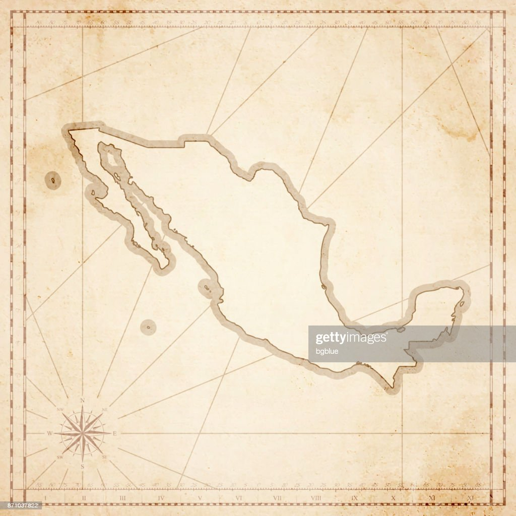 mexico map in retro vintage style old textured paper vector art