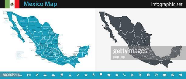 ilustrações de stock, clip art, desenhos animados e ícones de mexico map - infographic set - mexicano
