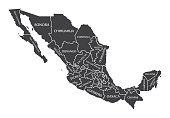 Mexico Map labelled black