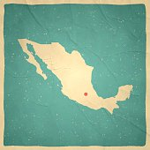 Mexico Map on old paper - vintage texture