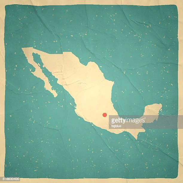 México mapa na textura de papel antigo-vintage