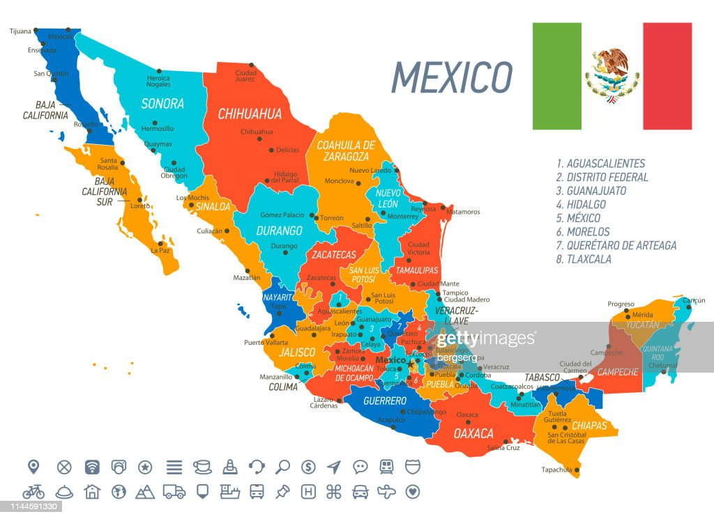 Mexico Map Vector Map With States Icons And Navigation Icons ...