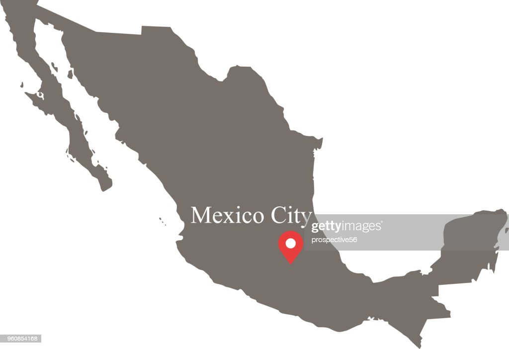 Mexico map vector outline with provinces or states borders and capital location and name, Mexico City, in gray background. Highly detailed accurate map of Mexico