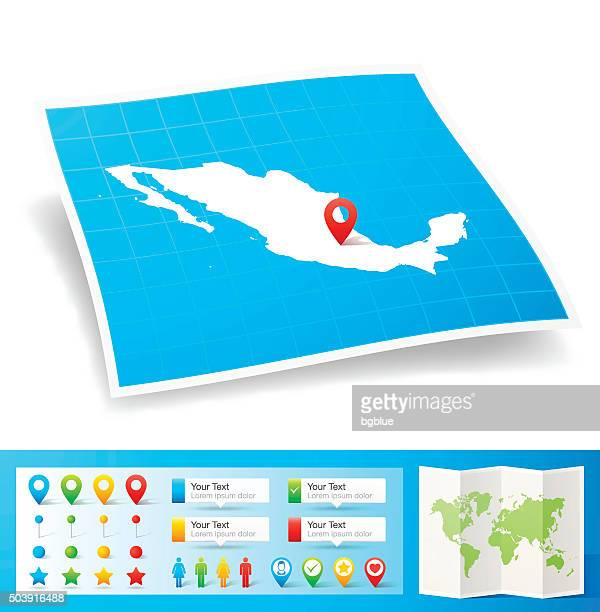 Mexico Map with location pins isolated on white Background