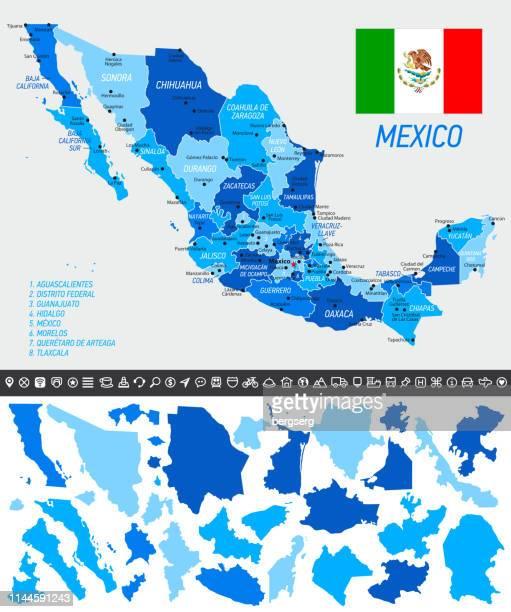 ilustraciones, imágenes clip art, dibujos animados e iconos de stock de mapa de méxico con bandera nacional, estados separados y iconos de navegación - jalisco
