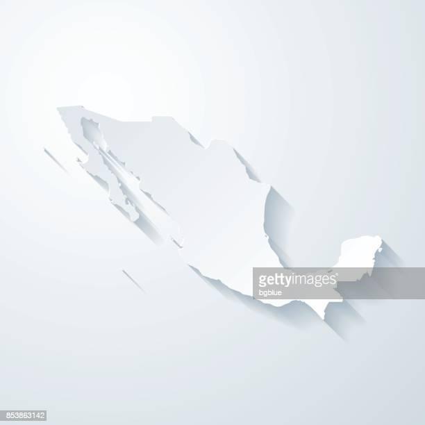 ilustrações de stock, clip art, desenhos animados e ícones de mexico map with paper cut effect on blank background - mexicano