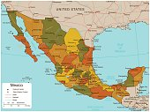 Mexico map with selectable territories. Vector