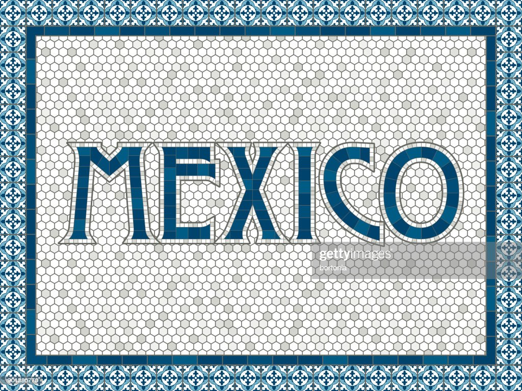 Mexico Old Fashioned Mosaic Tile Typography