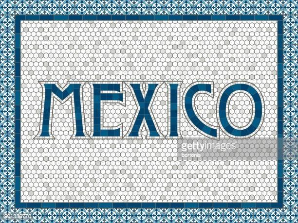 ilustrações de stock, clip art, desenhos animados e ícones de mexico old fashioned mosaic tile typography - mexicano