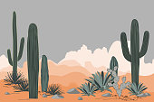 Mexico pattern with opuntia, agave, and saguaro cacti. Mountains background.