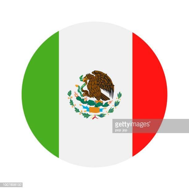 ilustraciones, imágenes clip art, dibujos animados e iconos de stock de méxico - redondo bandera vector icono plana - bandera de méxico